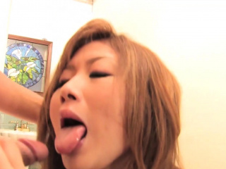 Asian girl blows one guy while she gets dildo fucked by