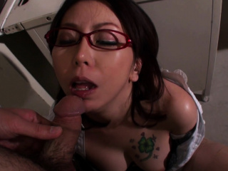 Lusty Japanese teacher doggy styled by horny student