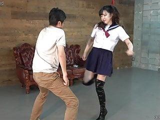 Japanese Schoolgirl Cosplay Ballbusting