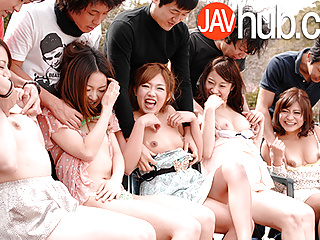 JAVHUB Hardcore Japanese orgy with five sexy ladies