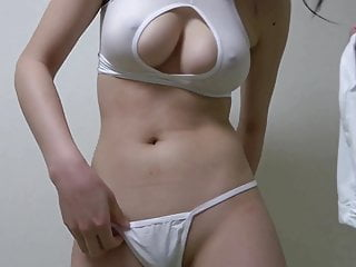 Japanese girl dresses sexy clothes and does titjob