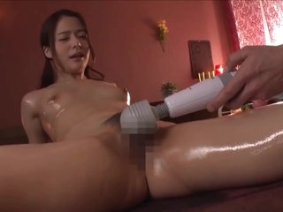 Japanese beautiful girl feeling intense orgasm with oil massage