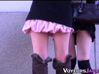 Asian babe filmed upskirt