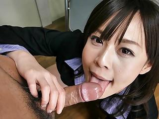Japanese secretary, Asuka Kyono sucks dick, uncensored