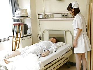 Japanese nurse Reina Wamatsu rubs dick, uncensored