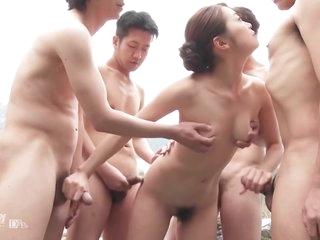 Japanese Blowbang In Outdoor Spa