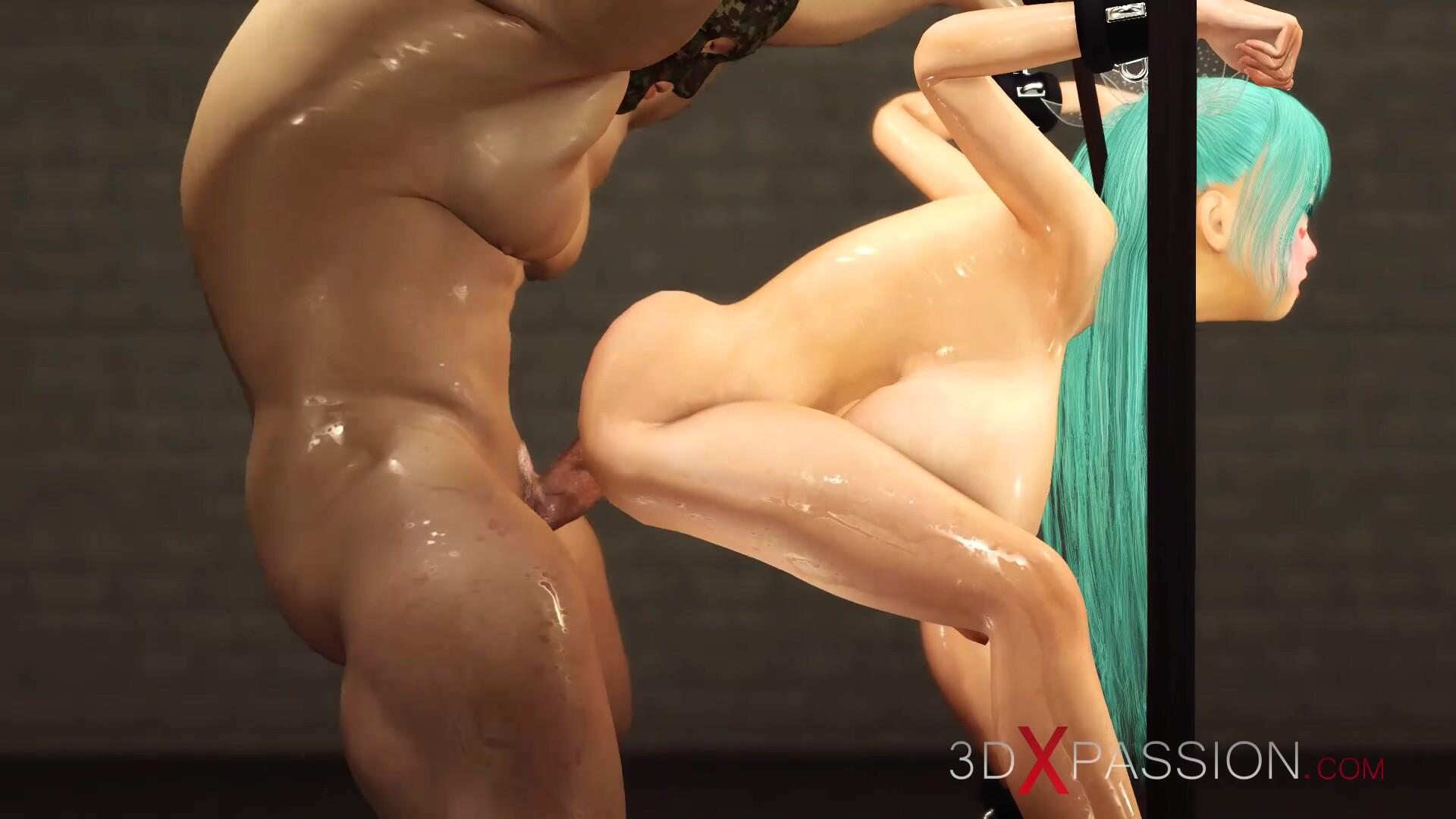 Hot sex! Huge boobed cuffed girl gets a hard anal fuck hardcore