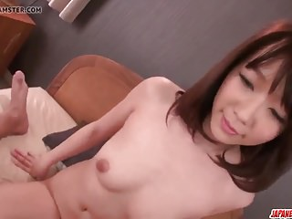Hitomi Oki swallows sperm after a severe fuck play
