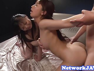Gorgeous asian beauties screwed in threeway